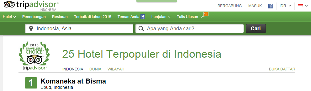 Indonesia hotel ranking on tripadvisor