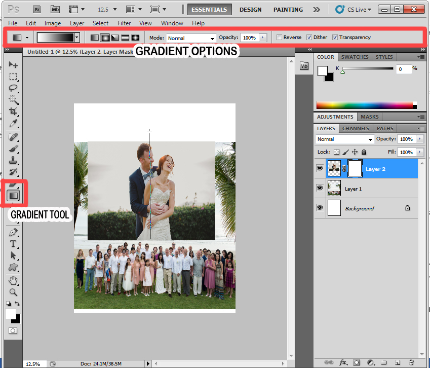 STEP 5 - BLENDING PHOTOS ON PHOTOSHOP