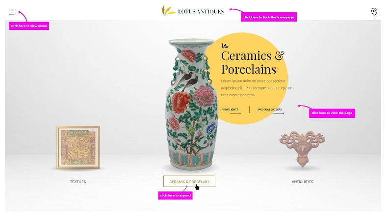 Lotus Antique Website Mock Up