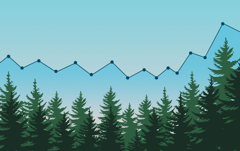Tree and graph that represent evergreen content